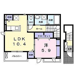 アネックス 2階1LDKの間取り