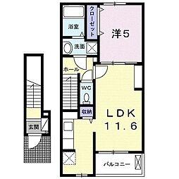 アクティーフ南大泉 2階1LDKの間取り