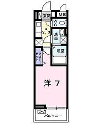 キングキャッスル 弐番館 2階1Kの間取り