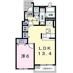 シャロームIII 1階1LDKの間取り