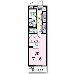 ルクレイル西桜 4階1Kの間取り