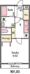 東武東上線 東松山駅 徒歩19分の賃貸アパート 2階1Kの間取り