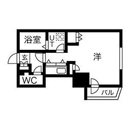 札幌市営東豊線 北13条東駅 徒歩5分の賃貸マンション 10階1Kの間取り