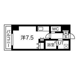札幌市営東豊線 北13条東駅 徒歩5分の賃貸マンション 9階1Kの間取り