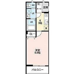 埼玉高速鉄道 浦和美園駅 徒歩2分の賃貸アパート 2階1Kの間取り