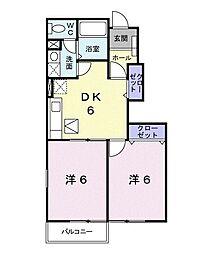 サニ-・パークB 1階2DKの間取り