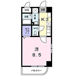 ホワイトバレー八幡駅前 4階1Kの間取り