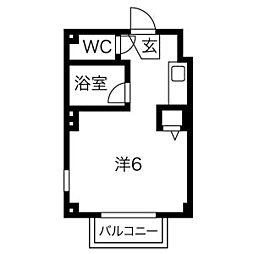 アメニティ富岡 2階ワンルームの間取り