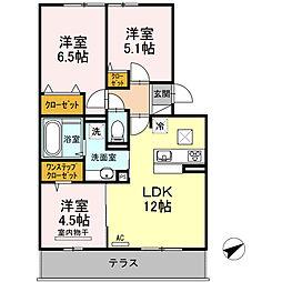 セリシール A棟 1階3LDKの間取り