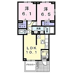 サニー筑紫野 1階2LDKの間取り