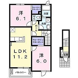 宮城県気仙沼市和野368番地5の賃貸アパート 2階2LDKの間取り