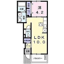 JR仙山線 愛子駅 徒歩6分の賃貸アパート 1階1LDKの間取り