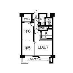 JR東北新幹線 仙台駅 徒歩12分の賃貸マンション 6階2LDKの間取り