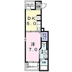 プリムヴェール II 2階1DKの間取り