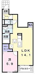 JR鹿児島本線 福間駅 徒歩13分の賃貸アパート 1階1LDKの間取り