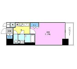 JR東西線 海老江駅 徒歩8分の賃貸マンション 10階1Kの間取り