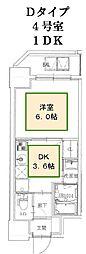 JR山陽本線 神戸駅 徒歩10分の賃貸マンション 7階1DKの間取り
