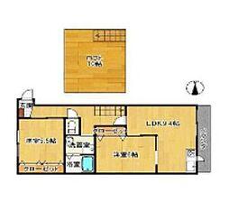 GABAIハウス高木瀬 1階2LDKの間取り