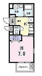ファミーユ橋本 2階1Kの間取り