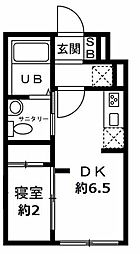 JR仙山線 国見駅 徒歩15分の賃貸マンション 3階1DKの間取り