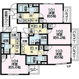東急田園都市線 池尻大橋駅 徒歩7分の賃貸マンション 1階1Kの間取り