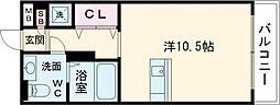 JR仙石線 宮城野原駅 徒歩6分の賃貸マンション 3階ワンルームの間取り