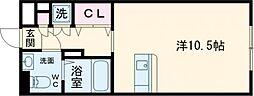 JR仙石線 宮城野原駅 徒歩6分の賃貸マンション 5階ワンルームの間取り
