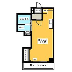 A・City三河安城北館 5階ワンルームの間取り