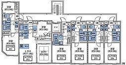 東急東横線 祐天寺駅 徒歩7分の賃貸マンション 2階1Kの間取り