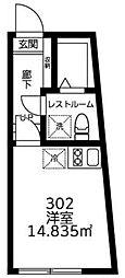 JR山手線 渋谷駅 徒歩15分の賃貸マンション 3階ワンルームの間取り