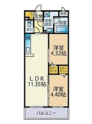 JR筑肥線 糸島高校前駅 徒歩20分の賃貸マンション 3階2LDKの間取り