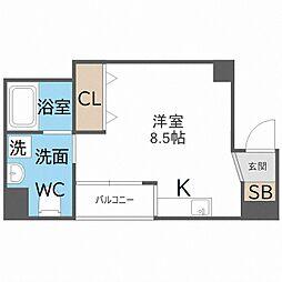 南海線 粉浜駅 徒歩5分の賃貸マンション 5階ワンルームの間取り