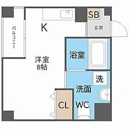 南海線 粉浜駅 徒歩5分の賃貸マンション 7階ワンルームの間取り