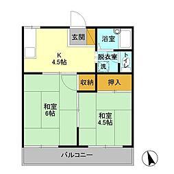 埼玉新都市交通 今羽駅 徒歩8分の賃貸アパート 2階2Kの間取り