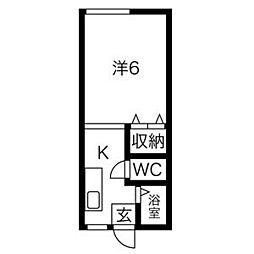 カレッジハウス(巣子) 2階1Kの間取り