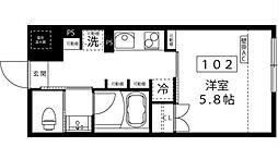 小田急小田原線 代々木上原駅 徒歩3分の賃貸マンション 1階1Kの間取り