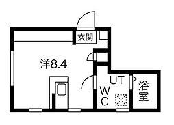 東急田園都市線 用賀駅 徒歩13分の賃貸マンション 4階ワンルームの間取り