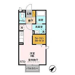 JR常磐線 土浦駅 バス12分 神社口下車 徒歩6分の賃貸アパート 2階ワンルームの間取り