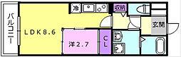 近鉄大阪線 弥刀駅 徒歩6分の賃貸アパート 2階1LDKの間取り