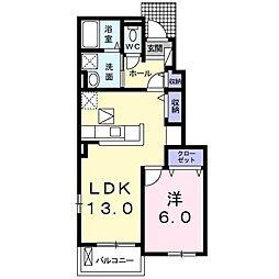 JR仙山線 愛子駅 徒歩8分の賃貸アパート 1階1LDKの間取り
