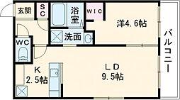 BELLEFINE Takadai 2階1LDKの間取り