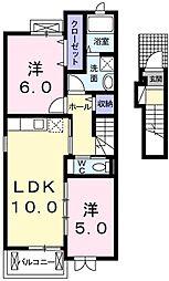 サンシャイン吉田屋 2階2LDKの間取り