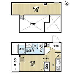 南海線 堺駅 徒歩19分の賃貸アパート 2階ワンルームの間取り