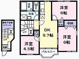エトワール・パレA 2階3DKの間取り