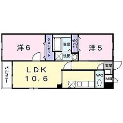近鉄大阪線 恩智駅 徒歩17分の賃貸マンション 2階2LDKの間取り