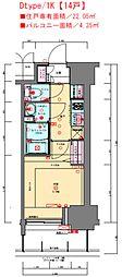 JR山陽本線 兵庫駅 徒歩3分の賃貸マンション 7階1Kの間取り