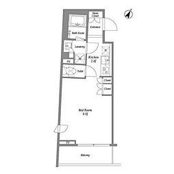 東急池上線 雪が谷大塚駅 徒歩7分の賃貸マンション 4階ワンルームの間取り