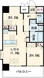 JR東海道・山陽本線 尼崎駅 徒歩1分の賃貸マンション 2階2LDKの間取り