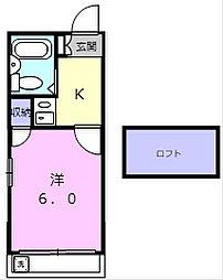 南海加太線 八幡前駅 徒歩17分の賃貸アパート 1階1Kの間取り