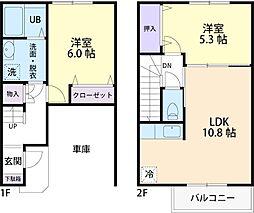 セレスティア 1階2LDKの間取り